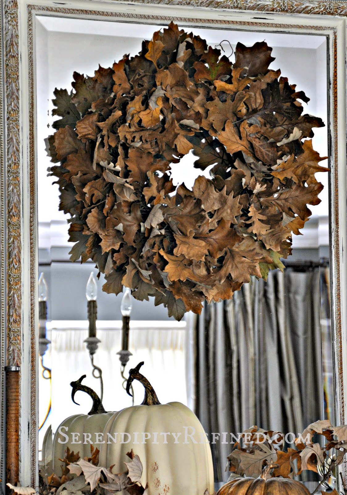 serendipity refined blog easy fall diy craft rustic oak leaf wreath