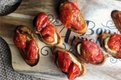Roasted Tomato Crostini with Pesto and Red Pepper Hummus