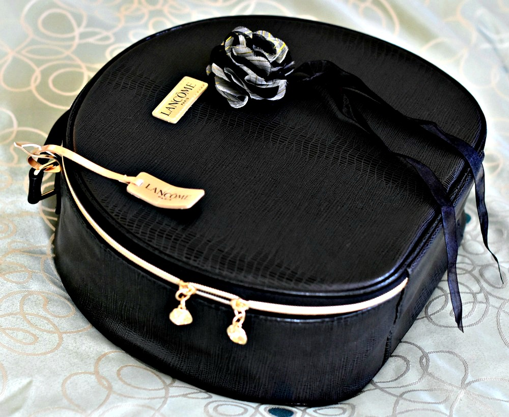 Lancome Black Train Case Cosmetic Makeup Travel Bag