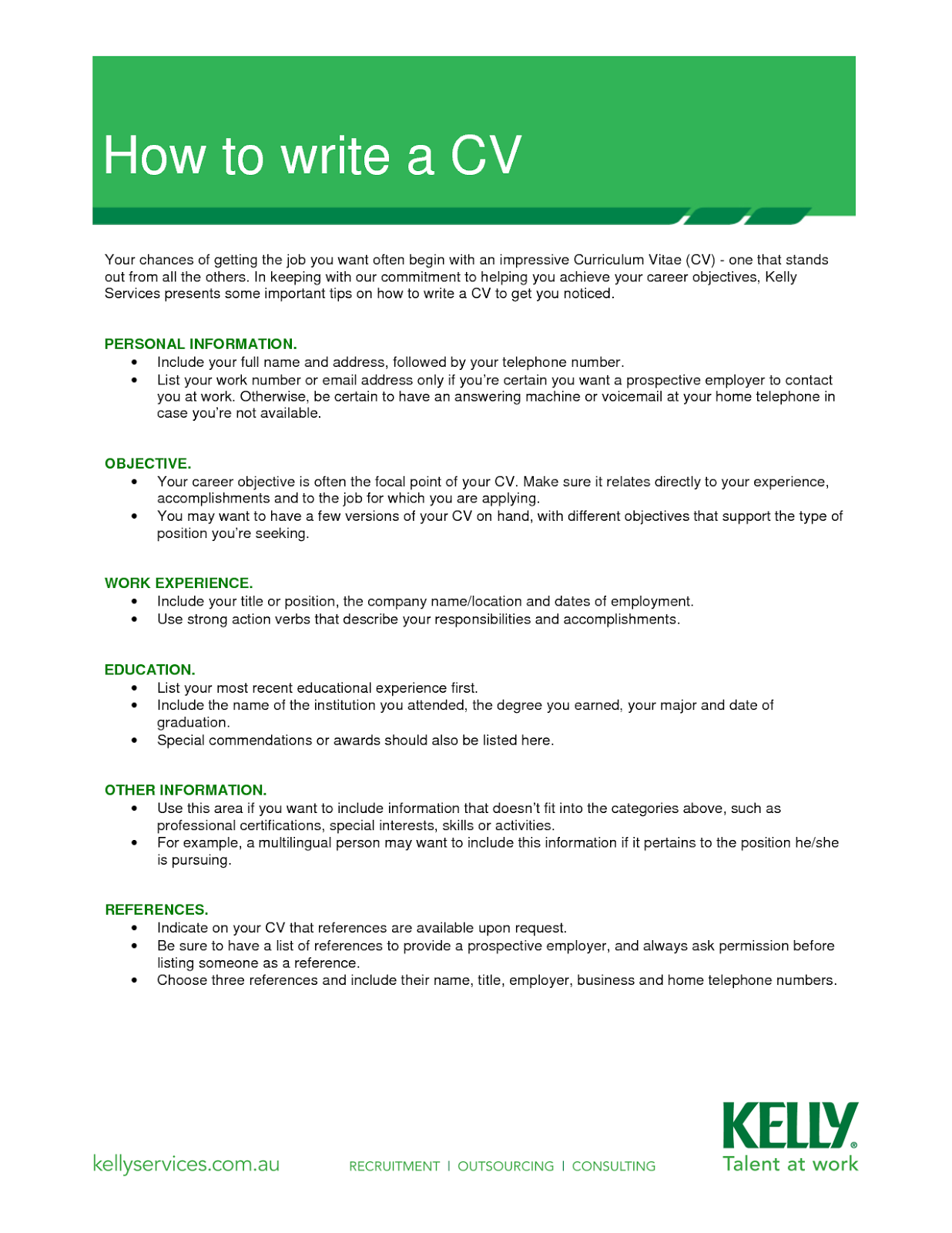 how to write a cv cvs