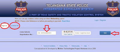 Step1: Check and Pay Traffic echallan Online