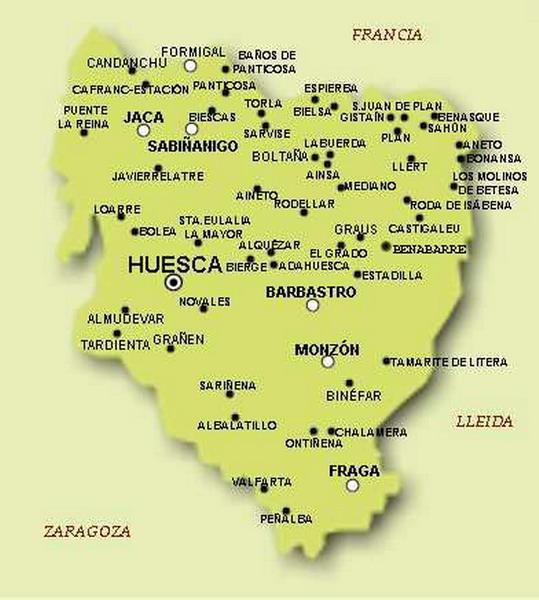 Mapa De Huesca Pirineos.Pueblos De Huesca Mapa Mapa