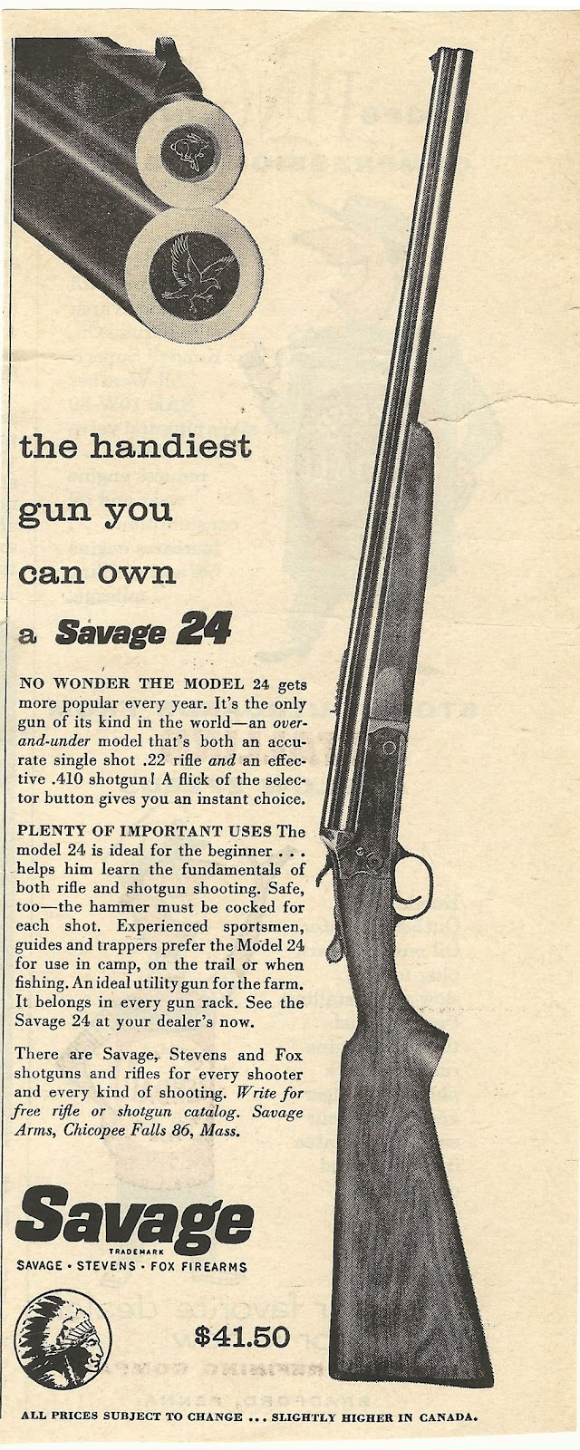 Old Ads Are Funny: 1950s ad: Savage 24