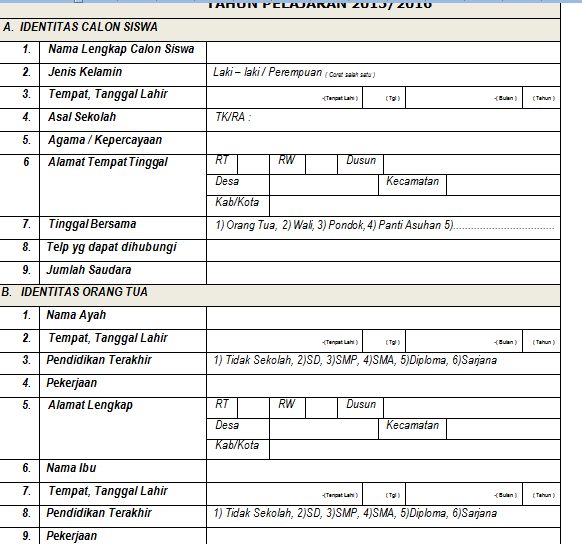 Formulir Pendaftaran Siswa Baru Tk Sd Smp Sma Sederajat Tahun