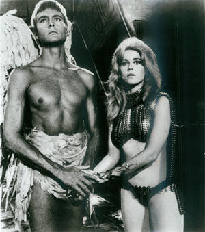 Jane Fonda in a bikini as Barabarella with John Phillip Law