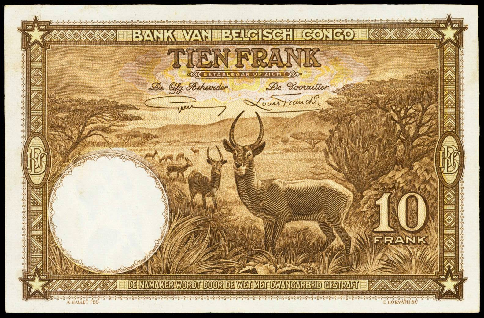 Belgian Congo Franc currency money