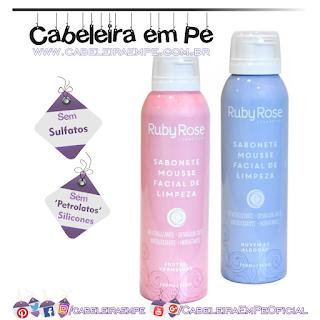 Sabonetes Mousse Facial de Limpeza Nuvem de Algodão e Frutas Vermelhas - Ruby Rose (Sem Sulfatos, Sem Petrolatos e Sem Silicones)