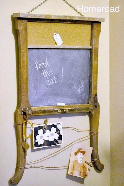 repurposed chair table leg chalkboard memo board www.homeroad.net