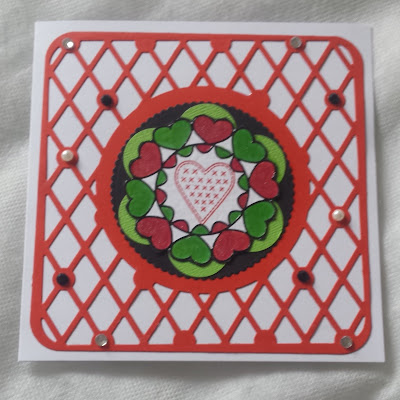 "Hearts on a lattice frame - 6"" square card"
