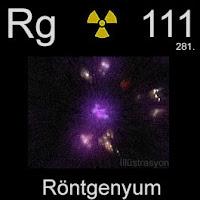 Röntgenyum elementi üzerinde röntgenyumun simgesi, atom numarası ve atom ağırlığı.
