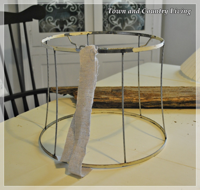 How to make a shabby lamp town country living grab yourself an old wire lampshade frame or even a new one would do keyboard keysfo Gallery