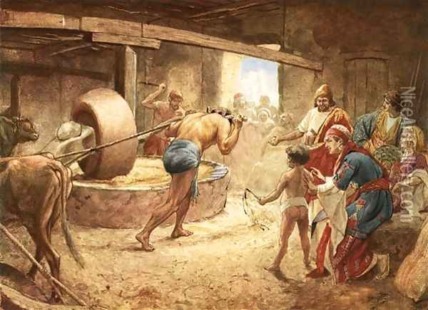 As Samson slaved at grinding grain, his hair began to grow, but the careless Philistines paid no attention.