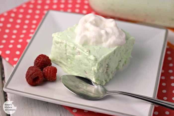Lime Gelatin Dessert | by Renee's Kitchen Adventures - easy recipe for a low-calorie vintage jello dessert