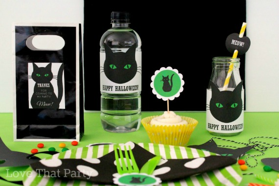 image of kids halloween party decorations and supplies with black cat