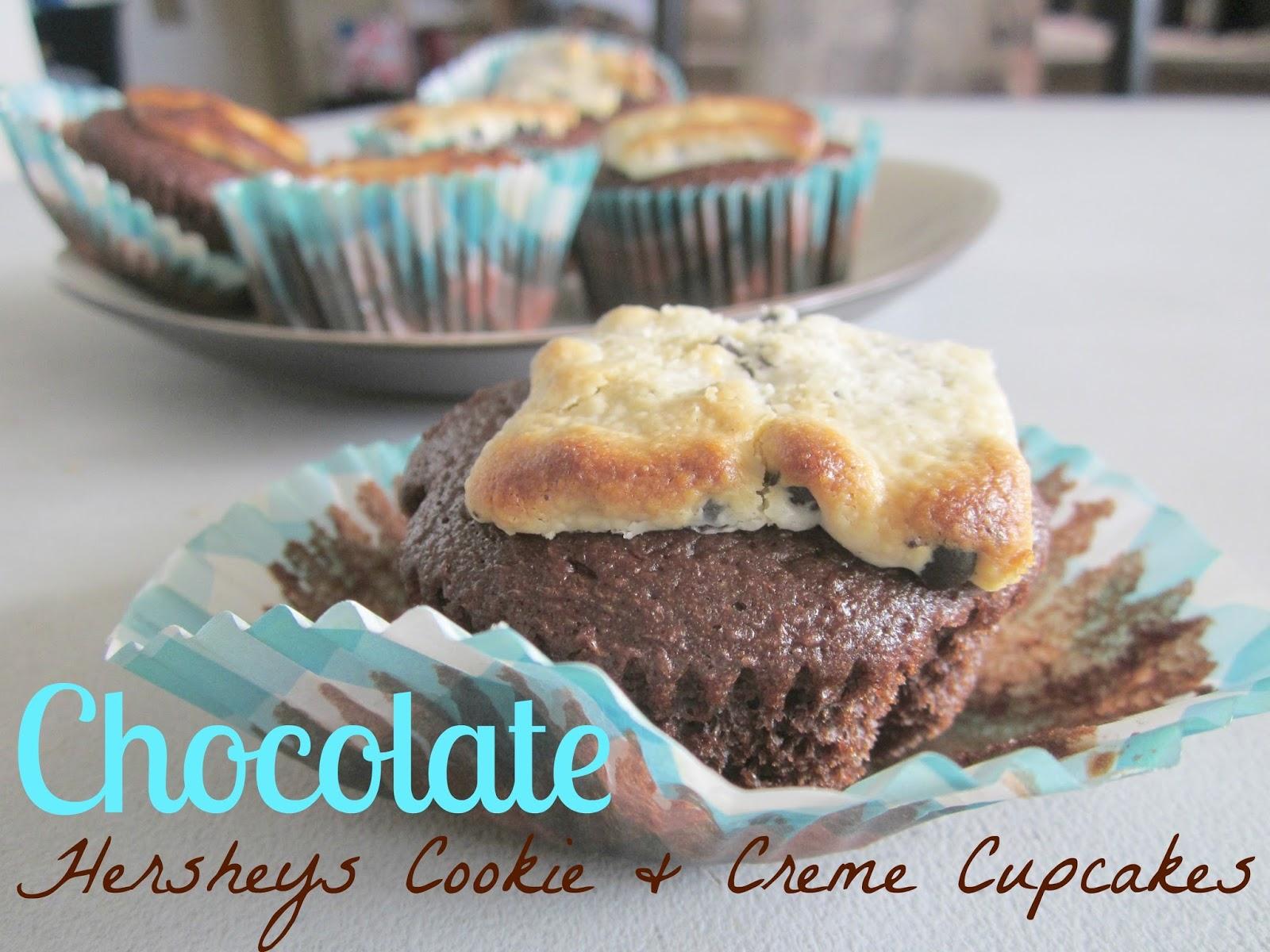 chocolate hersheys cookie and creme cupcakes