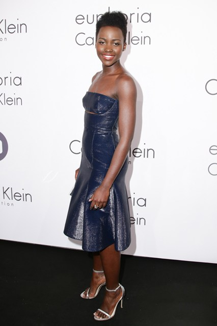 Lupita Nyong'o in a midnight blue Calvin Klein Collection dress at Cannes 2014