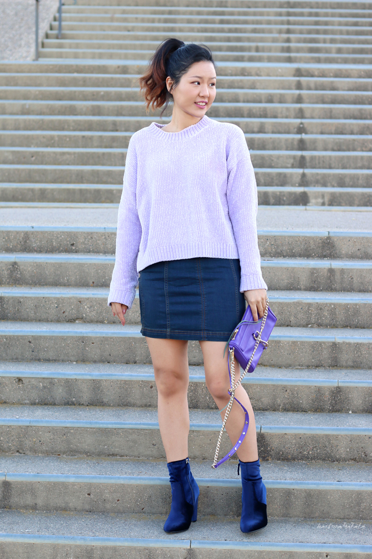 Lavender Sweater and Velvet Booties OOTD Blogger Style