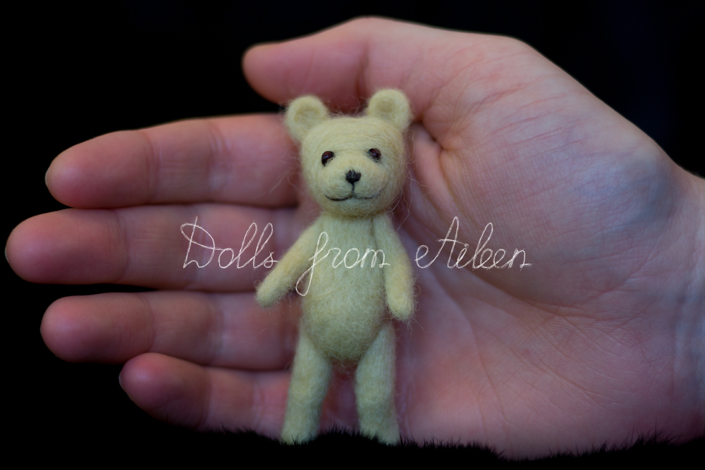 OOAK mini needle felted teddy bear with human hand