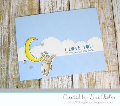 Love You to the Moon and Back card-designed by Lori Tecler/Inking Aloud-stamps from WPlus9