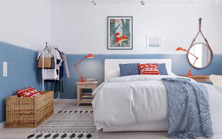 dormitorio con pared pintada en dos tonos
