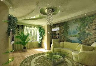 sala decorada falso techo