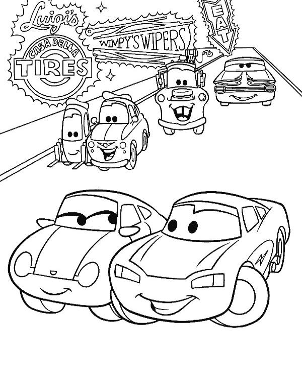 Tranh tô màu vương quốc xe hơi 01