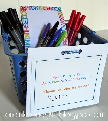 Fresh new paper and pens, back to school teacher appreciation gift - One Mile Home Style