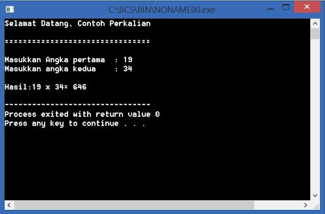 Contoh Program Paling sederhana  dengan menggunakan bahasa pemrograman C++