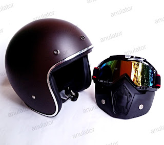 Helm Retro Half face List Chrome + Goggle Mask Antman