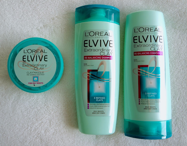 L'oreal Elvive Clay Collection, new out hair mask, pre shampoo treatment, shampoo and conditioner, for oily roots and dry ends.