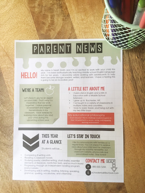 Engaging letter to parents for back to school.