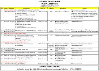 Jadwal PSPP Penerbangan Juni 2017 kampus Lampung