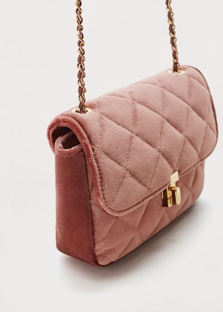 pink velvet quilted bag