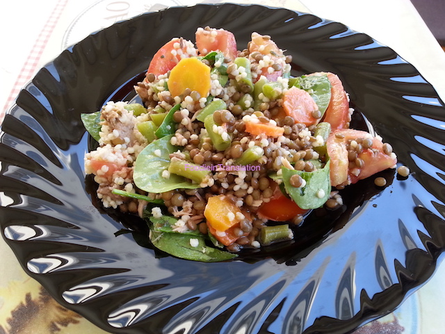 Insalata tonno, lenticchie e pomodoro