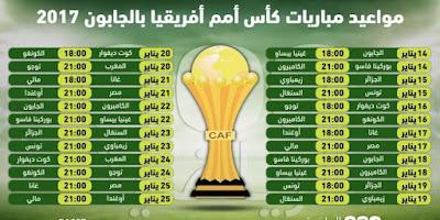 مواعيد مباريات كأس أمم أفريقيا بالجابون 2017