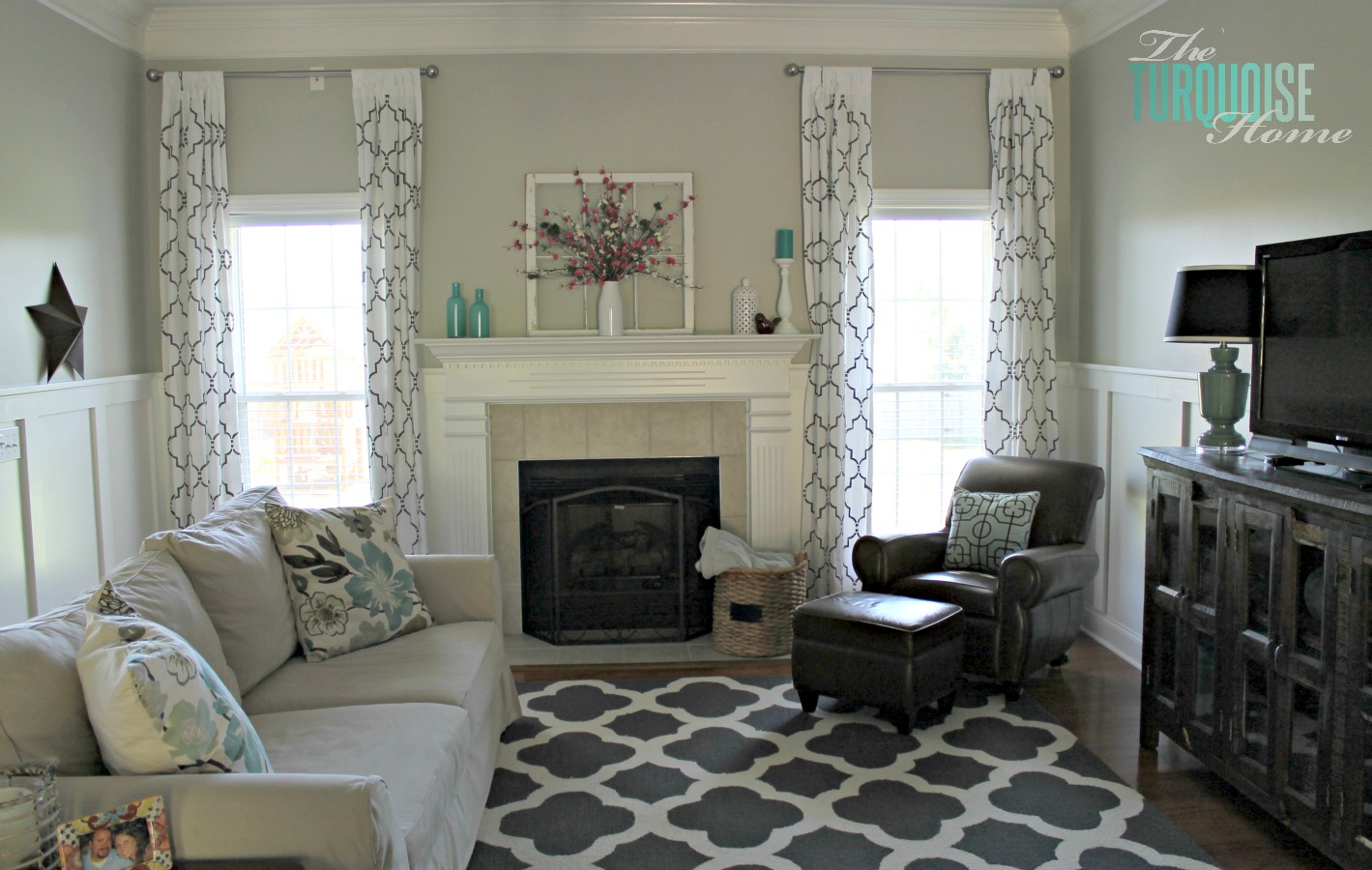 Diy Small Living Room Makeover Black Grey White Part 7 Final Reveal The Turquoise Home Gorgeous With Beautiful Board And Batten Pottery Barn Sofa Stenciled