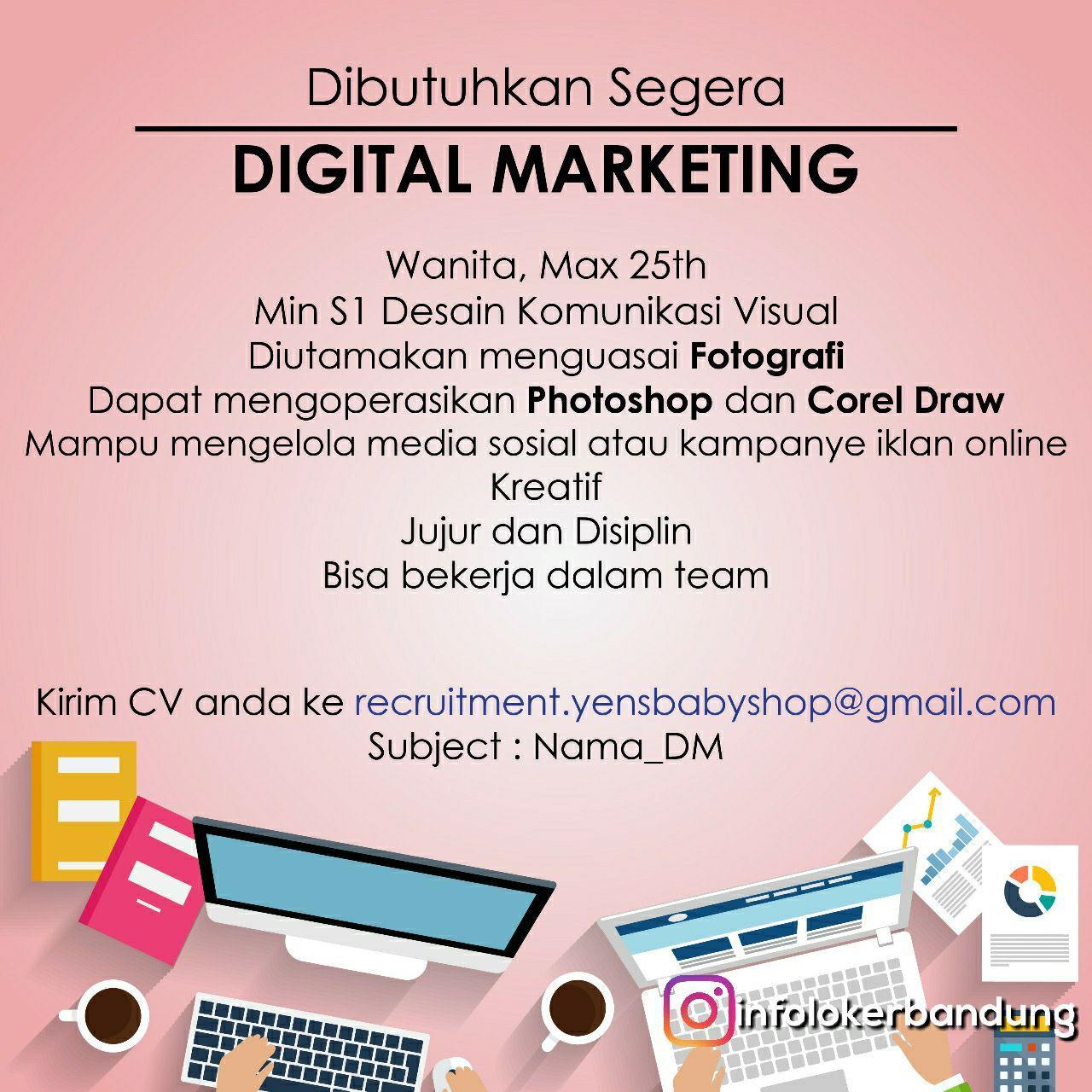 Lowongan Kerja Digital Marketing Yens Baby & Kids Shop Bandung November 2017