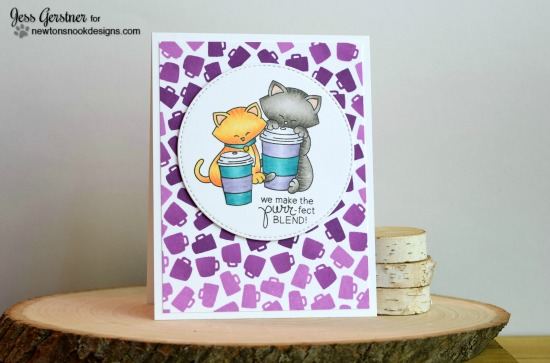 Ombré coffee cat card by Jess Gerstner | Newton Loves Coffee stamp set by Newton's Nook Designs #newtonsnook