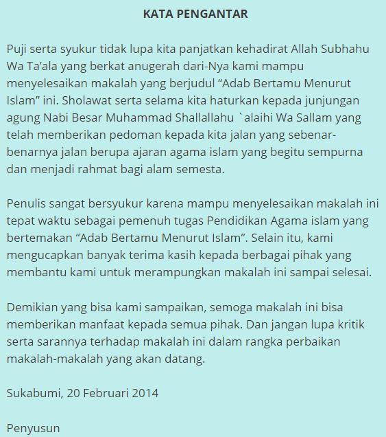 3 Kata Pengantar Makalah Agama Islam Lengkap Contoh Makalah