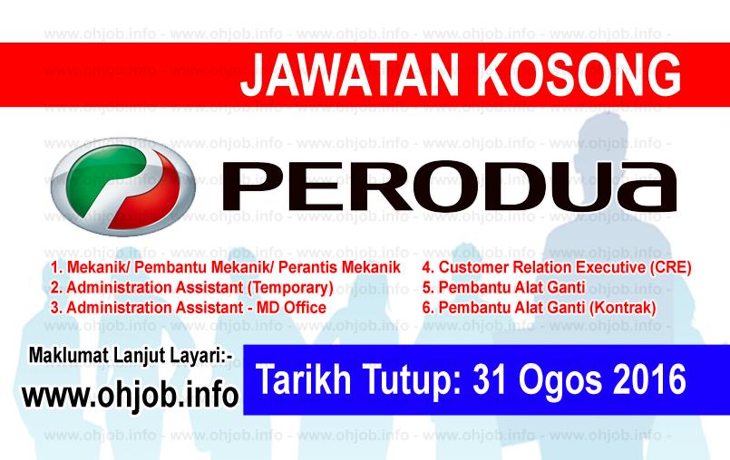 Jawatan Kerja Kosong Perusahaan Otomobil Kedua (PERODUA) logo www.ohjob.info ogos 2016
