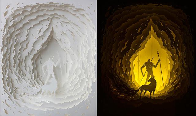 Green Pear Diaries, arte, dioramas,  dioramas iluminados, corte de papel, Hari y Deepty