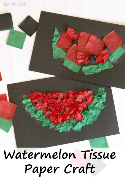 Easy Tissue Paper Watermelon Craft School Time Snippets