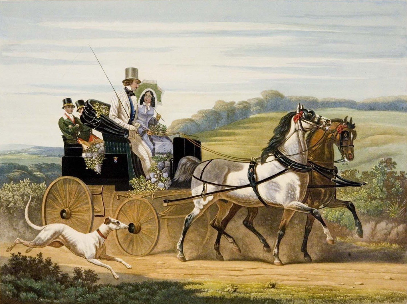 19c american women 1852 riding in a carriage. Black Bedroom Furniture Sets. Home Design Ideas