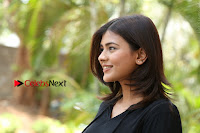 Actress Hebah Patel Stills in Black Mini Dress at Angel Movie Teaser Launch  0157.JPG
