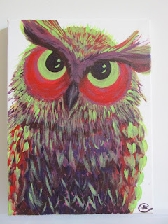 """Green Eyes Colorful Owlet "" PAINTING  BY EILEENAART"