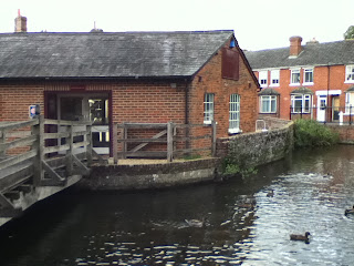 Duck Pond whitchurch mill gift shop and tea room on Frog Island in the River Test, Hampshire