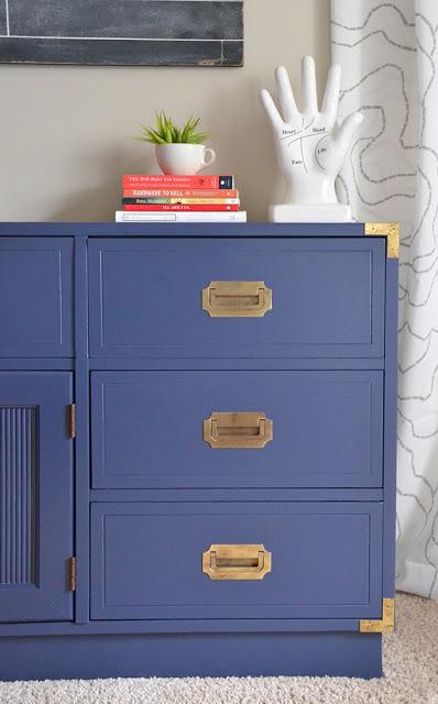 Blue painted campaign dresser