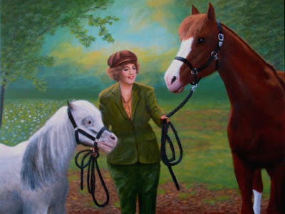 horse,pony,horses,ponies,dreamy,background,painting,1930s,historical,green