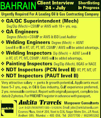 QA QC Engineer NDT Technician Job Interview Ankita Travels