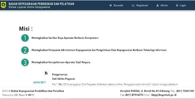 Aplikasi Cuti Online Pegawai di Kabupaten Bogor